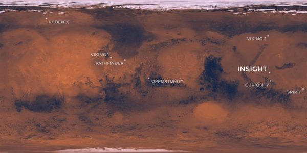 map of landing sites for all mars missions