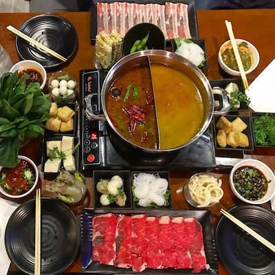 stylishly laid out hot pot