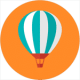 an air balloon on a orange background rising slowly to the top